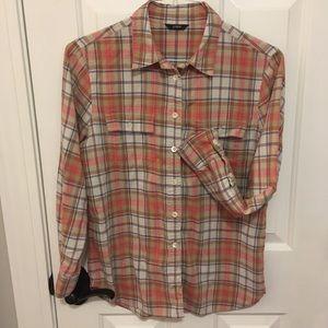 J.Crew coral plaid button shirt